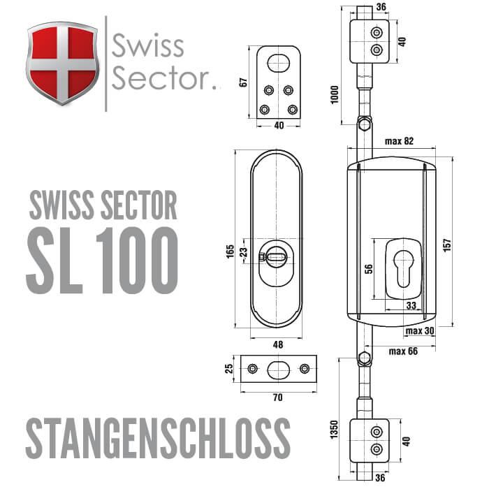 stangenschloss mit vds anerkennung swiss sector sl100. Black Bedroom Furniture Sets. Home Design Ideas
