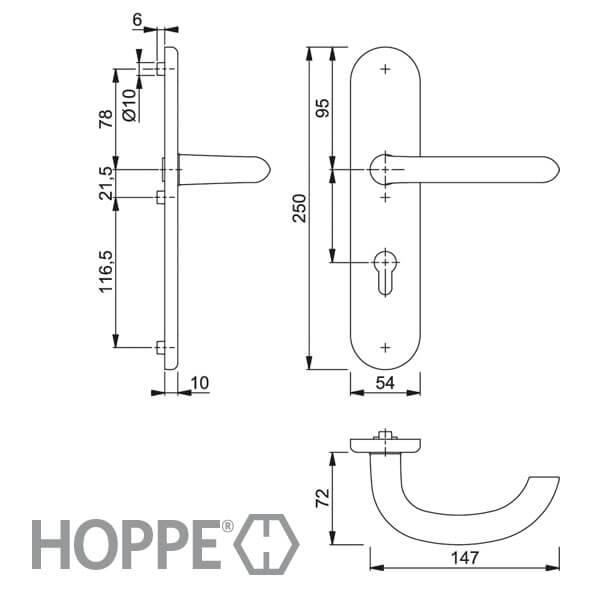 Hoppe Haus und Wohnungsabschlußtür Schutz-Garnitur Marseille PZ 92 mm F1