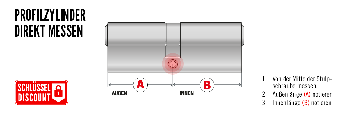 Profilzylinder direkt (ausgebaut) messen